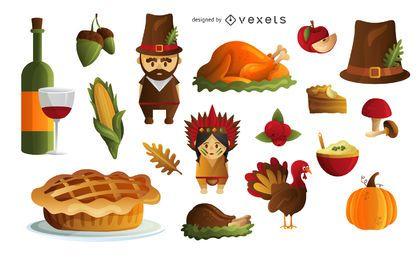 Thanksgiving-Elemente gesetzt