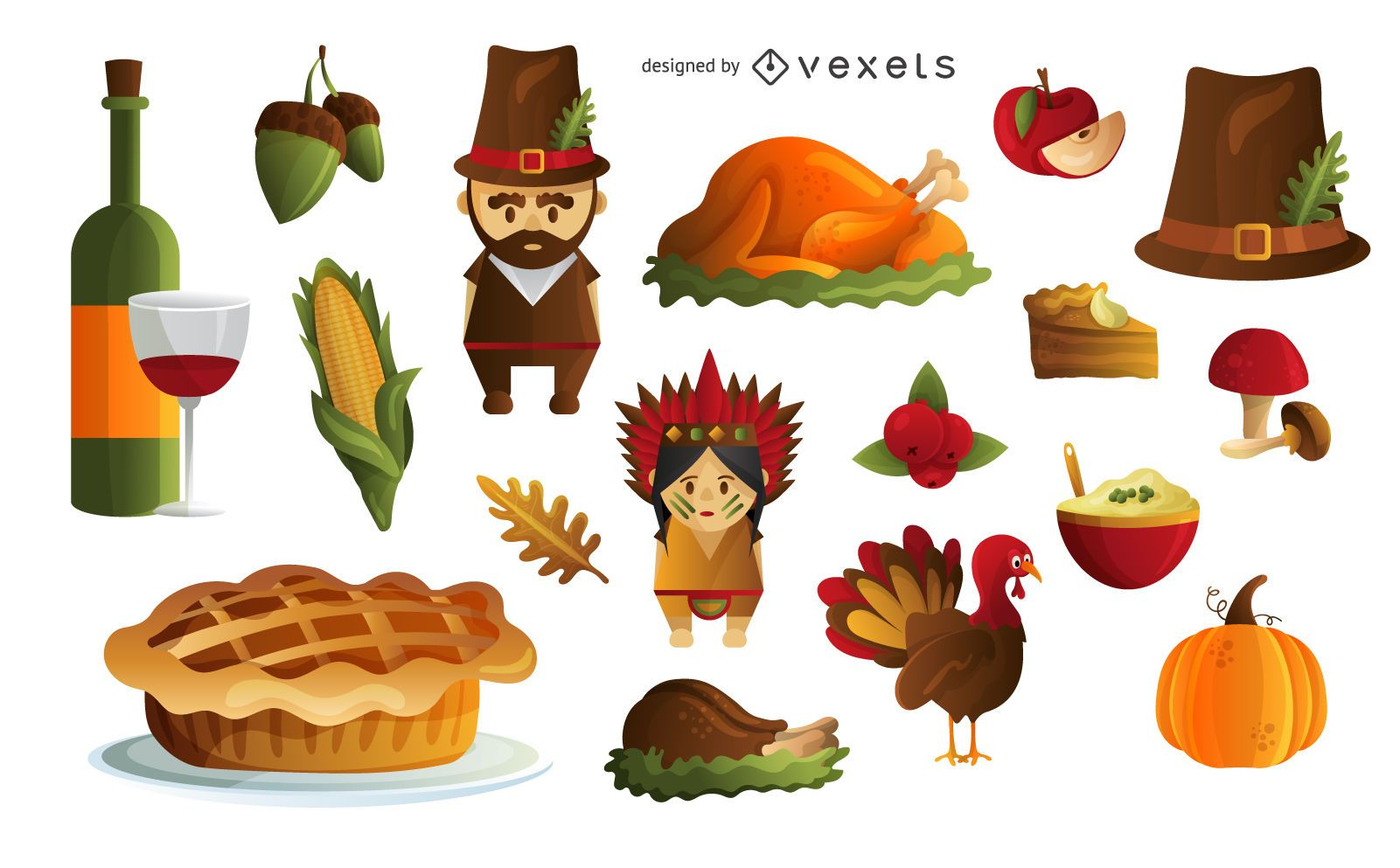 Thanksgiving elements set