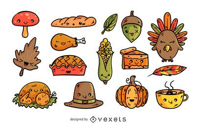 Thanksgiving-Cartoon-Elemente eingestellt
