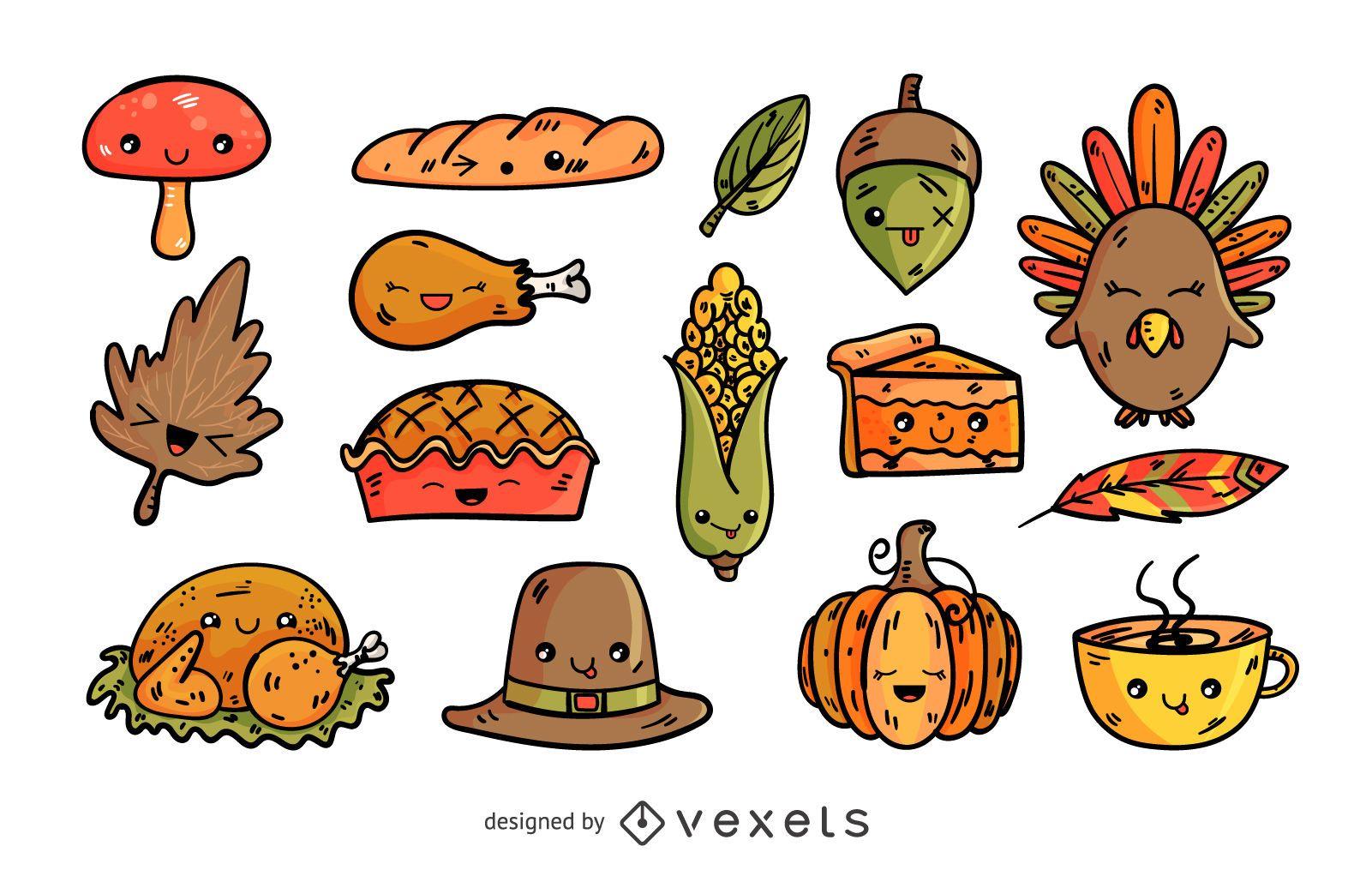 Conjunto de elementos de desenho animado de Ação de Graças
