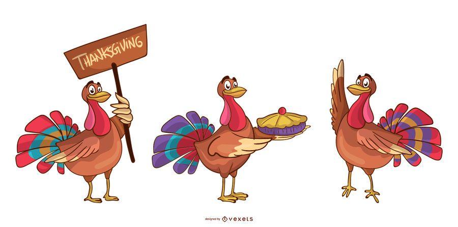 Thanksgiving turkeys cartoon set