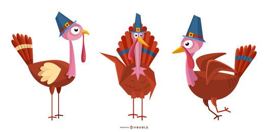 Thanksgiving turkeys illustration set