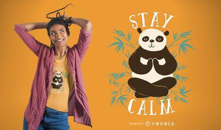 Diseño de camiseta Stay Calm Panda