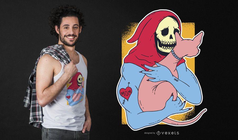 Esqueleto segurando gato design de t-shirt