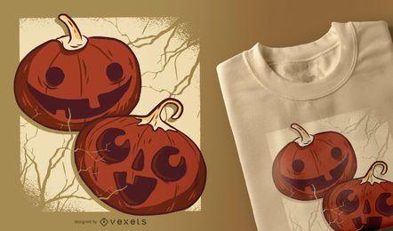Diseño de camiseta de calabazas de halloween.