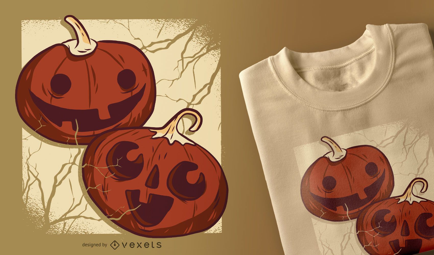 Diseño de camiseta de calabazas de halloween