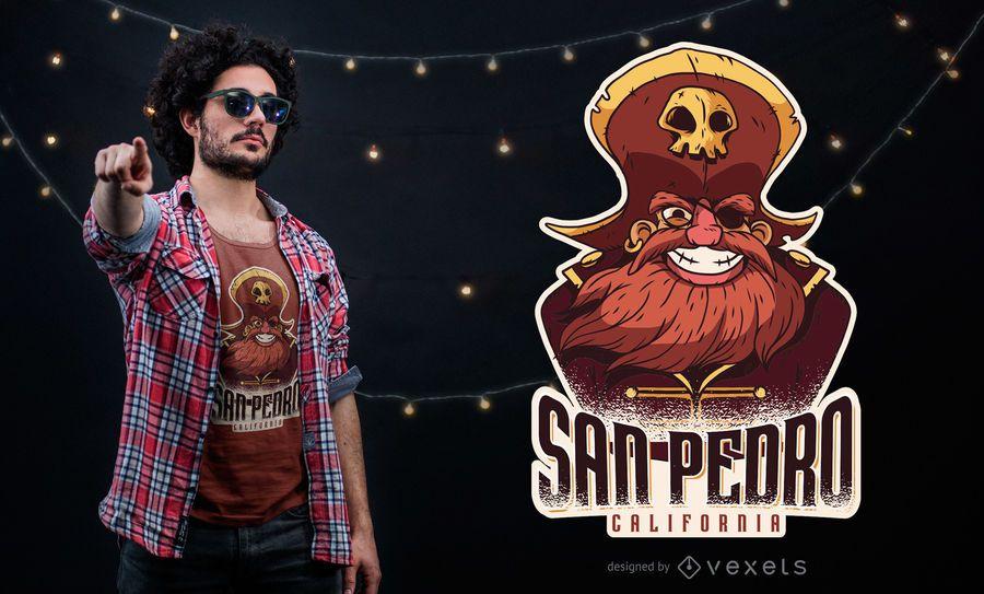 Projeto do t-shirt do pirata de San Pedro