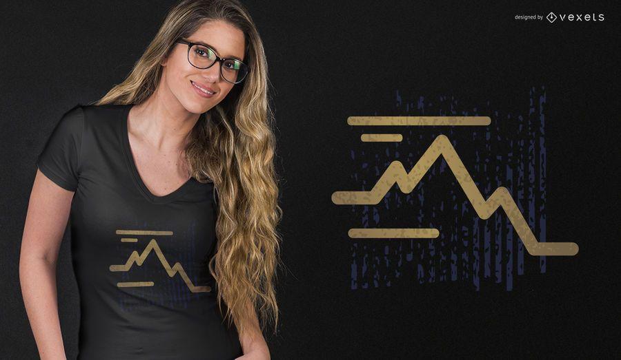 Stroke mountain t-shirt design