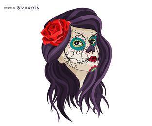 Niña mexicana cráneo maquillaje