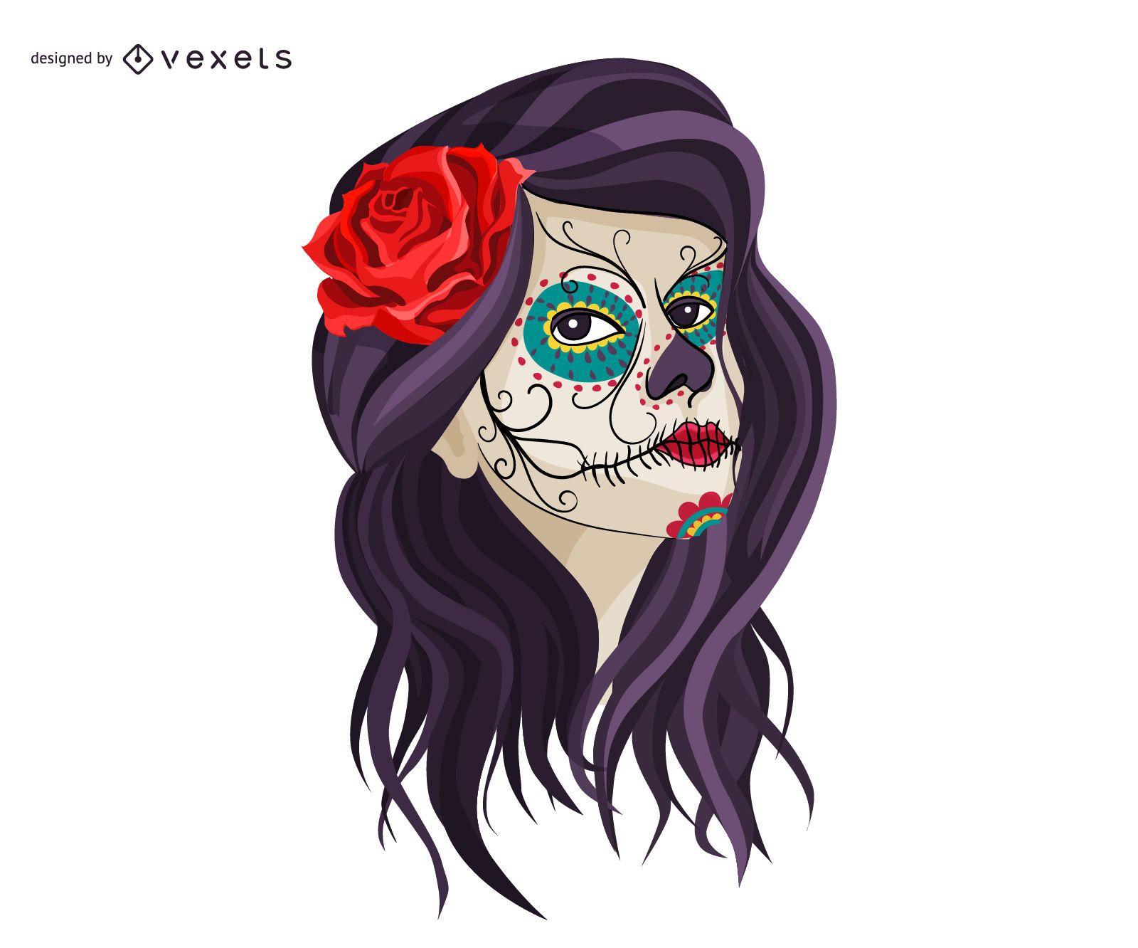 Maquillaje de calavera de niña mexicana