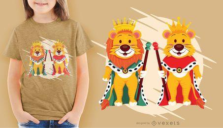 Design de camisetas do Rei Leão e Rainha