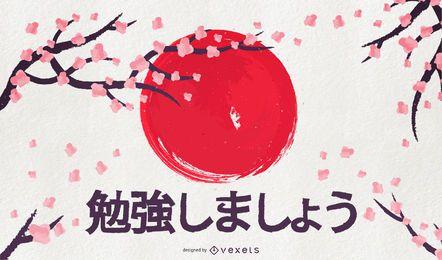 Japan-Aquarellkunst-Hintergrund