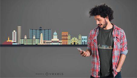 Projeto do t-shirt da skyline de Havana
