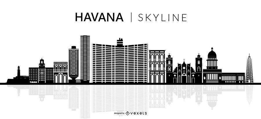 Havanna City Skyline Silhouette