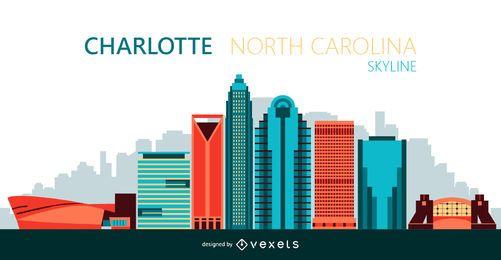 Ilustración de horizonte de la ciudad de Charlotte