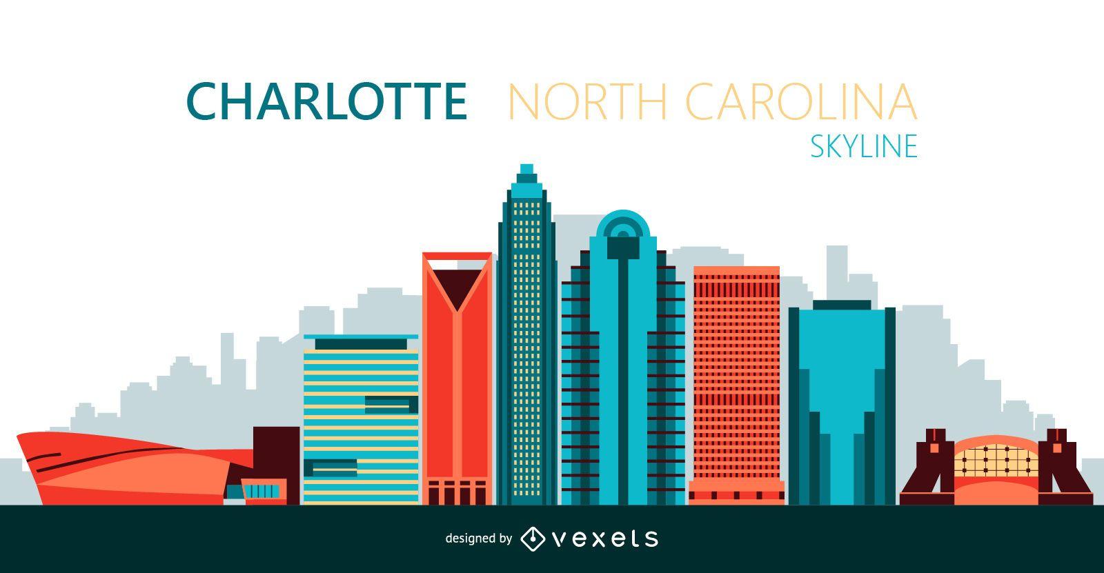 Ilustraci?n del horizonte de la ciudad de Charlotte
