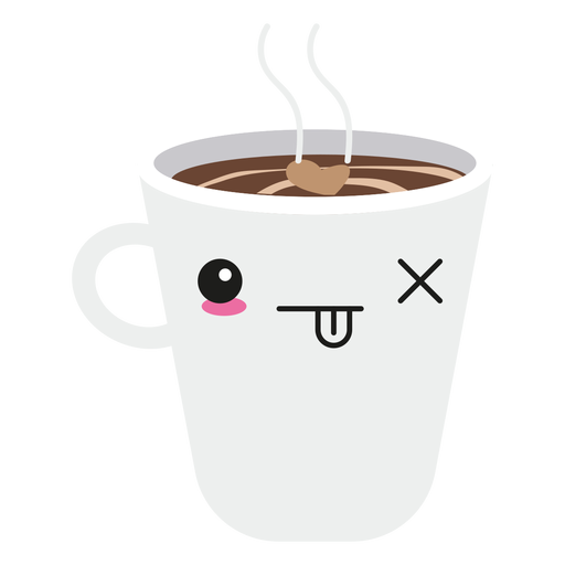 Kawaii face coffee cup Transparent PNG