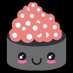Kawaii cara ikura icono de sushi