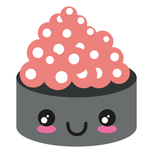 Kawaii face ikura sushi icon