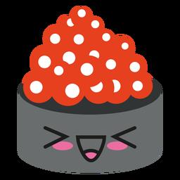 Cara de Kawaii sushi de huevas de salmón