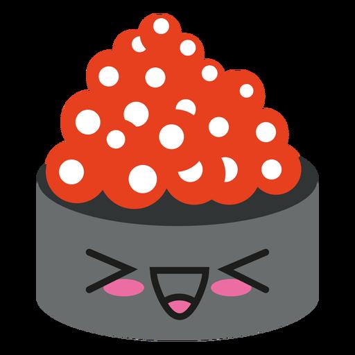 Sushi de huevas de salmón con cara kawaii