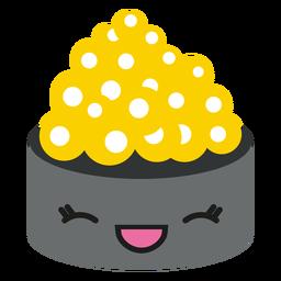 Kawaii cara sushi de caviar de pescado blanco