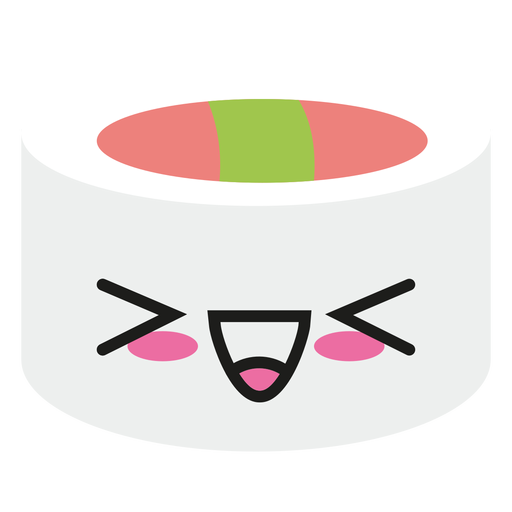 Laughing kawaii emoticon sushi Transparent PNG