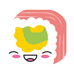 Laughing kawaii emoticon sushi icon