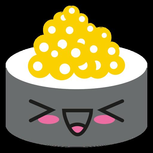 Sushi de emoticon kawaii riendo a carcajadas