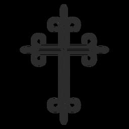 Icono de trazo de cruz cristiana adornado