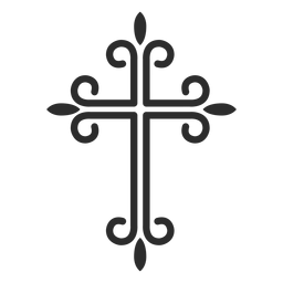 Ornamented christian cross stroke icon