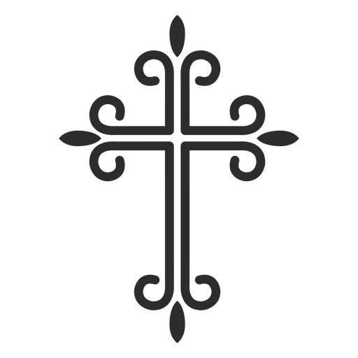 Ornamented christian cross stroke icon Transparent PNG
