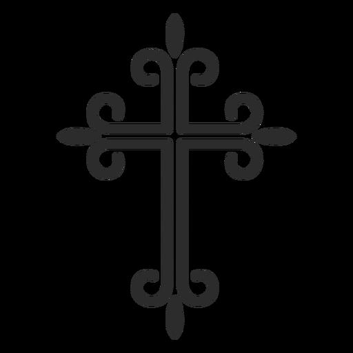 Verzierte christliche Kreuzstrichikone Transparent PNG