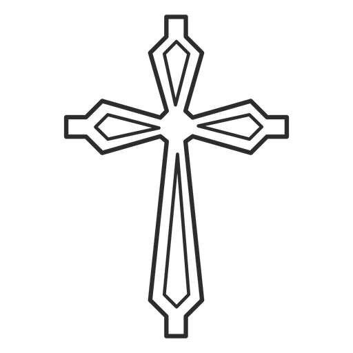 Ornamented cross stroke icon Transparent PNG