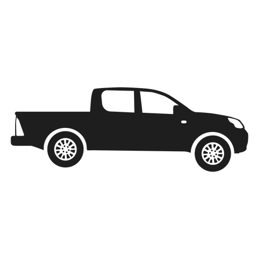 Pickup car side view silhouette Transparent PNG