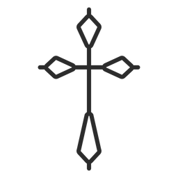 Religious cross stroke icon