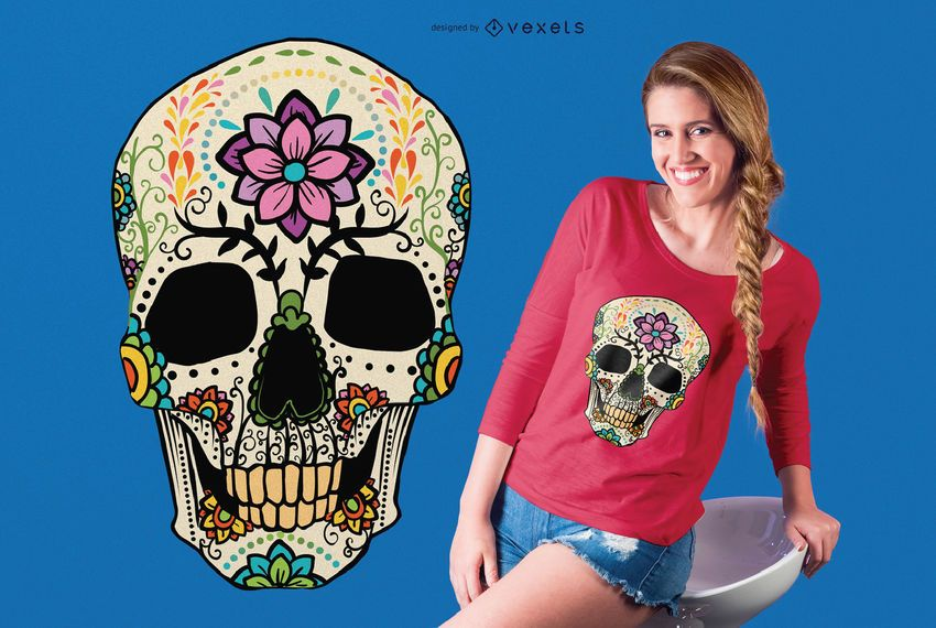 Crânio de açúcar com Design de t-shirt de flores