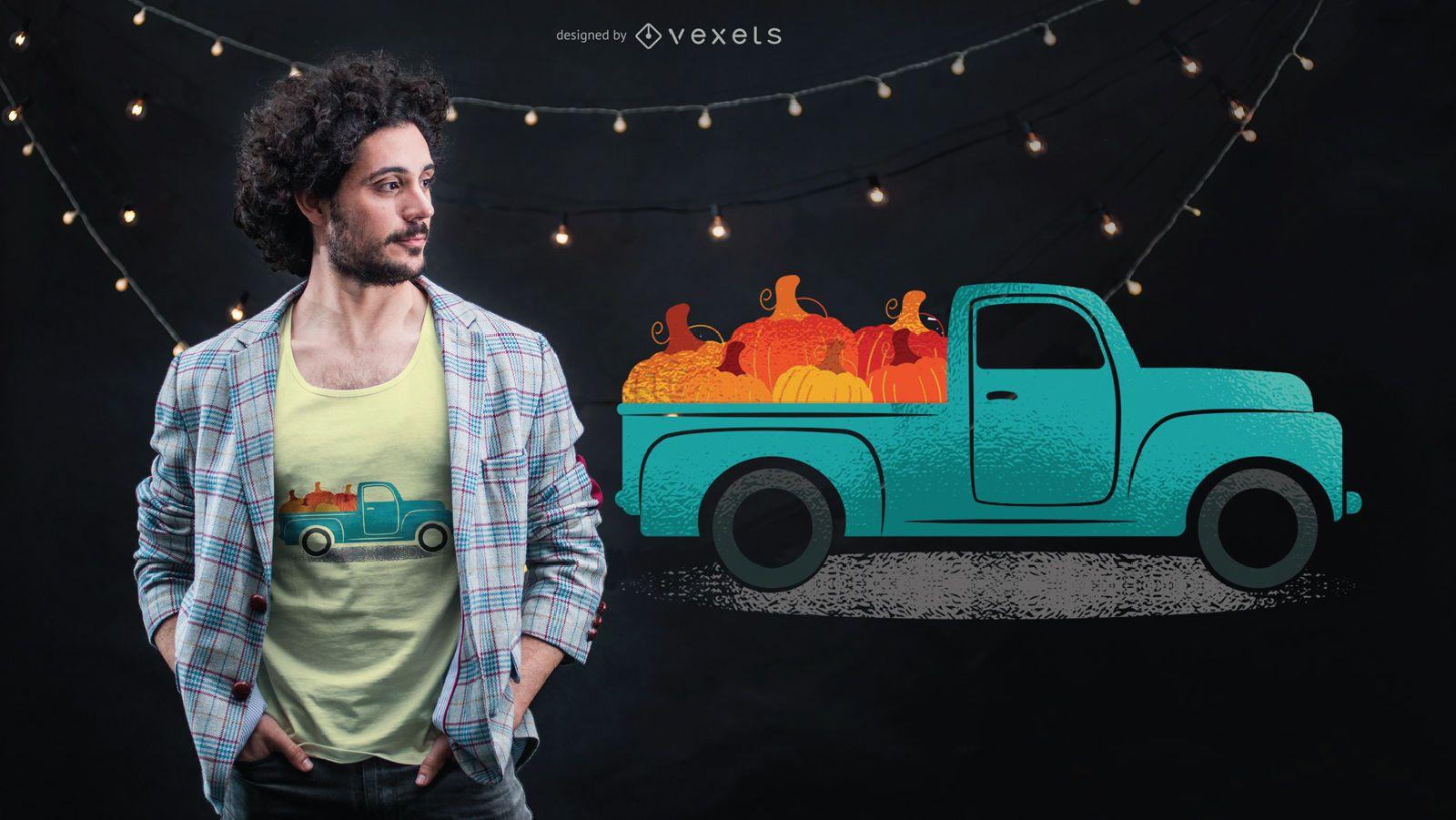 Camión vintage con calabazas en el diseño de camiseta trasera