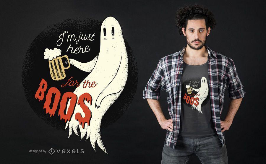 Halloween Beber Fantasma Engraçado Design De T-shirt