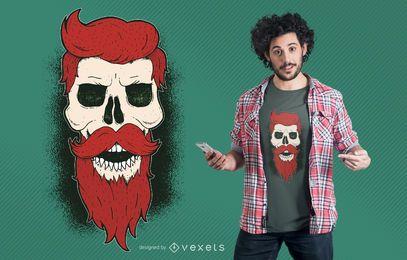 Diseño gráfico de camiseta de cráneo barbudo