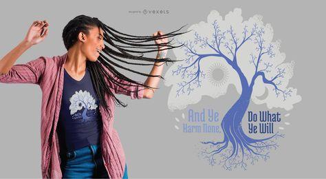 Sun Moon und Baum T-Shirt Design