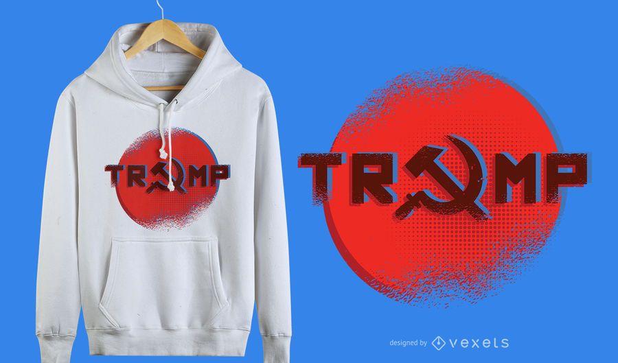 Diseño gráfico de camiseta de estilo ruso Trump