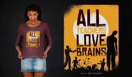 O professor ama cérebros zombi o projeto do t-shirt do Dia das Bruxas