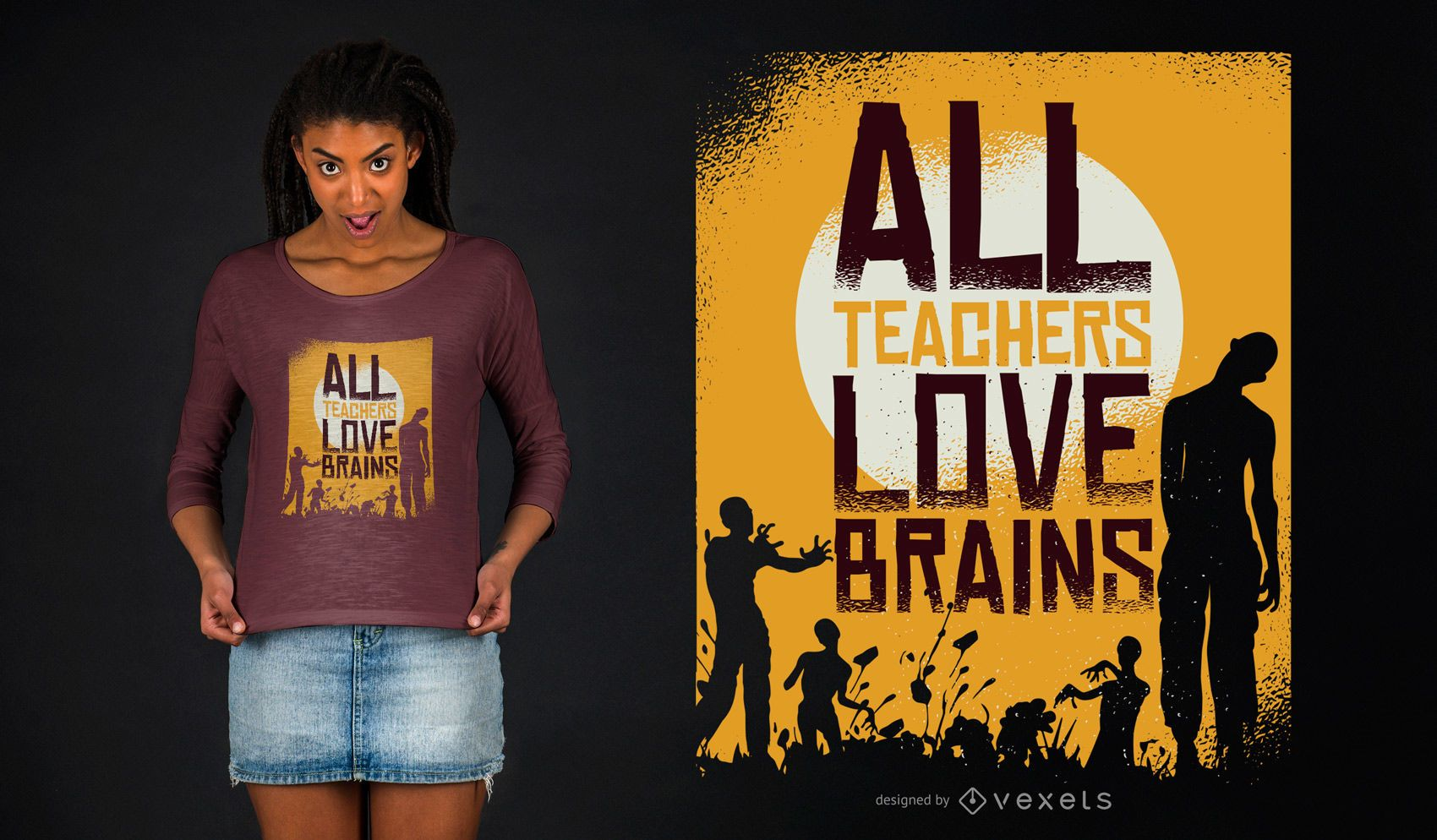 Teacher Loves Brains Zombie Halloween Diseño de camiseta