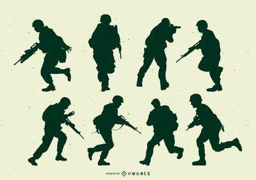 Conjunto de silhueta de ação de soldados do exército