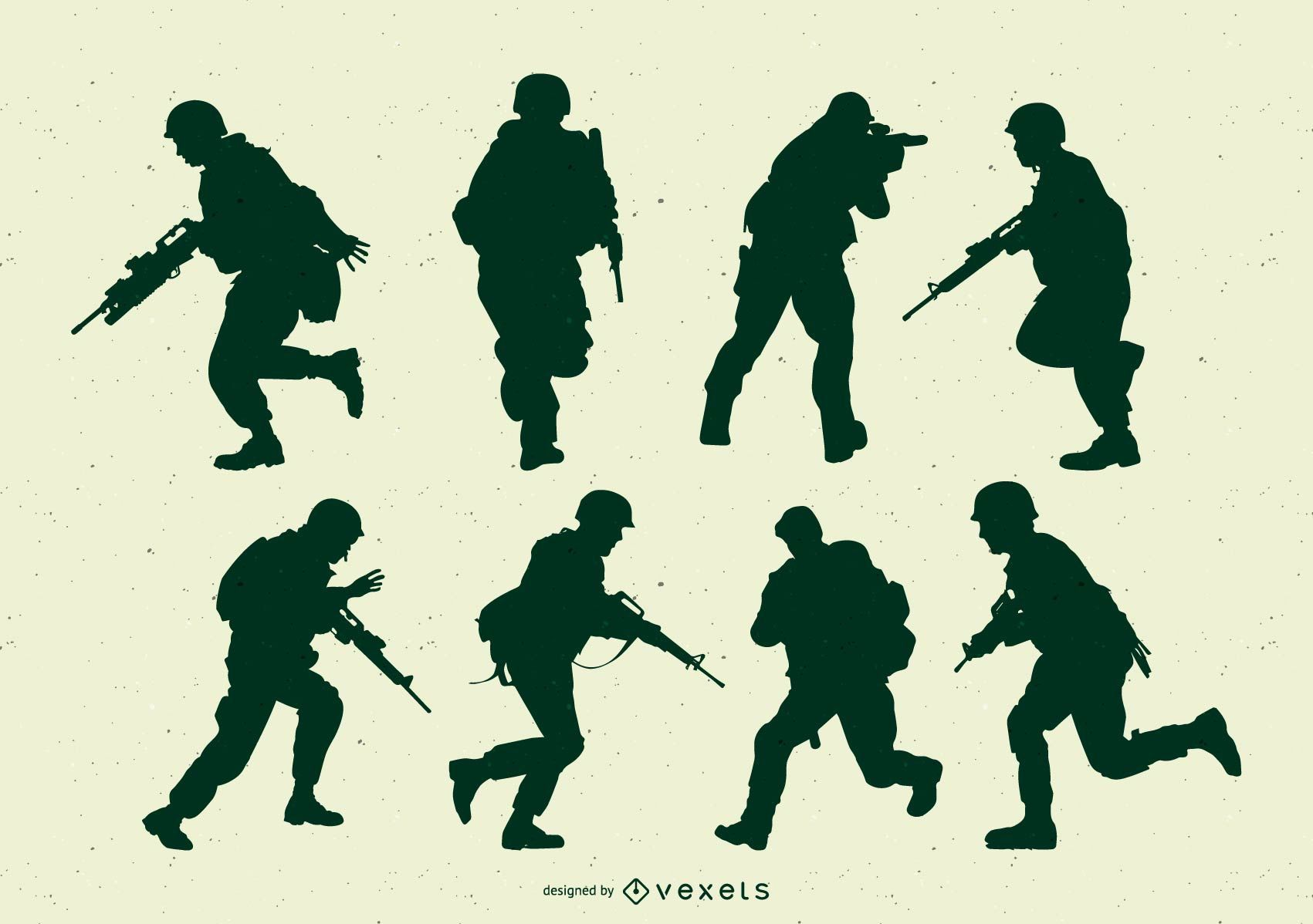 Army Soldiers Action Silhouette Set