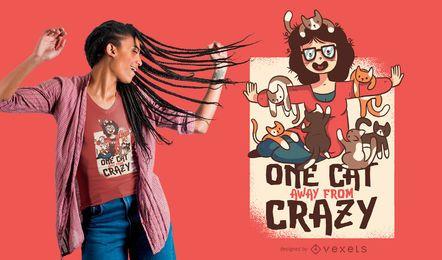 Design louco do t-shirt da senhora louca do gato