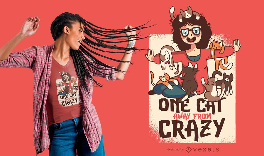 Crazy Cat Lady Funny T-shirt Design