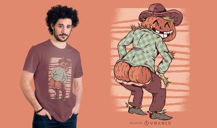 Abóbora do espantalho de Halloween atrás do projeto do t-shirt