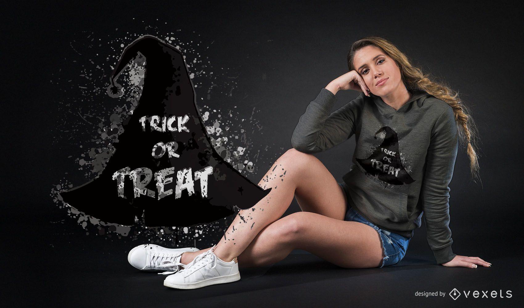 Diseño de camiseta de Halloween con sombrero de bruja